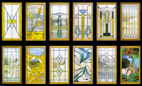 Cabinet door designs in stained glass for Stained glass kitchen windows