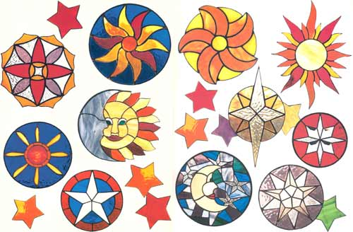 Sun, Moon, Stars Stained Glass Suncatchers
