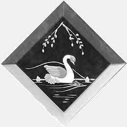 Engraved Glass Bevel - Swan