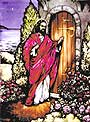Religious Stained Glass - Jesus Knocking